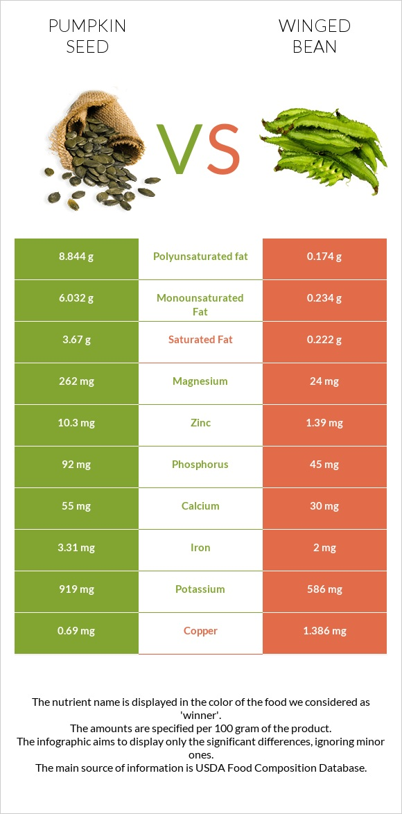 Pumpkin seed vs Winged bean infographic