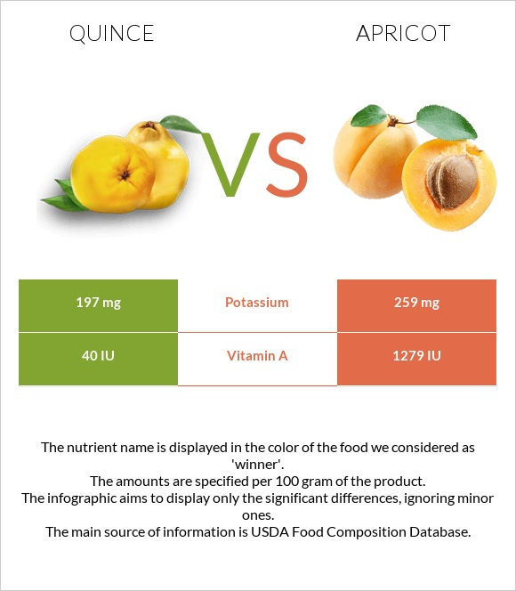 Quince vs Apricot infographic