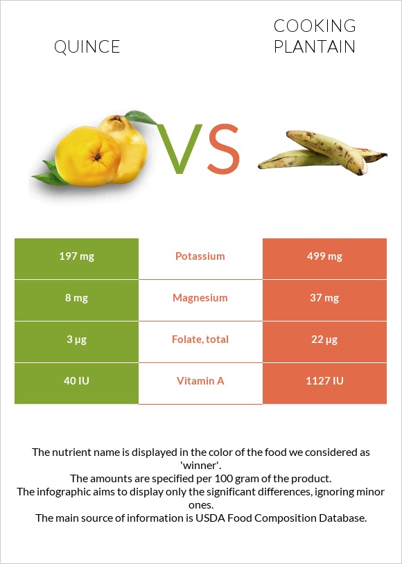 Quince vs Cooking plantain infographic