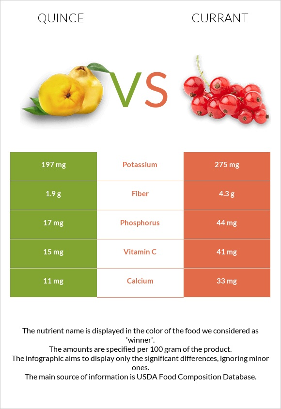 Quince vs Currant infographic