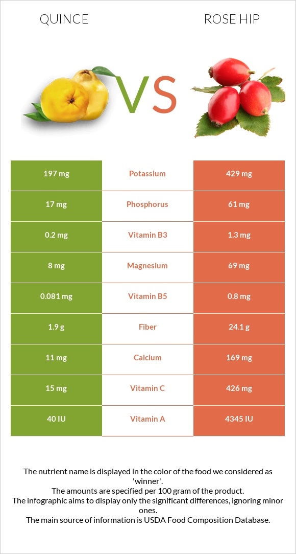 Quince vs Rose hip infographic