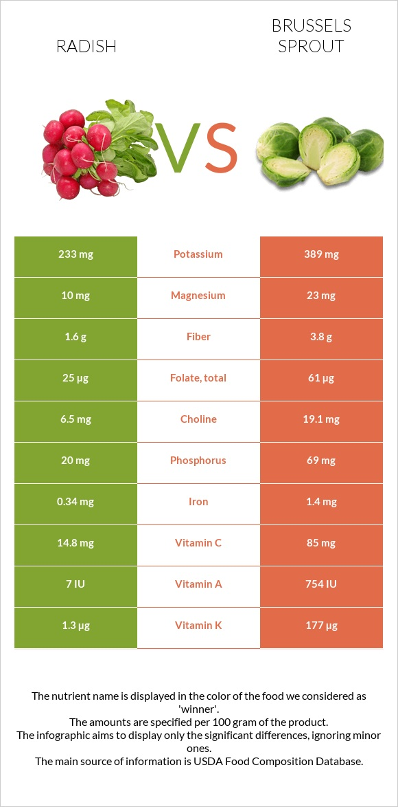 Radish vs Brussels sprout infographic