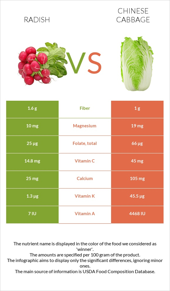 Radish vs Chinese cabbage infographic