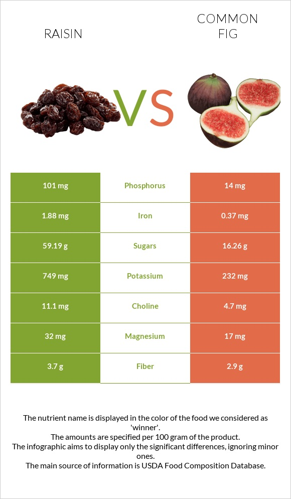 Raisin vs Common fig infographic