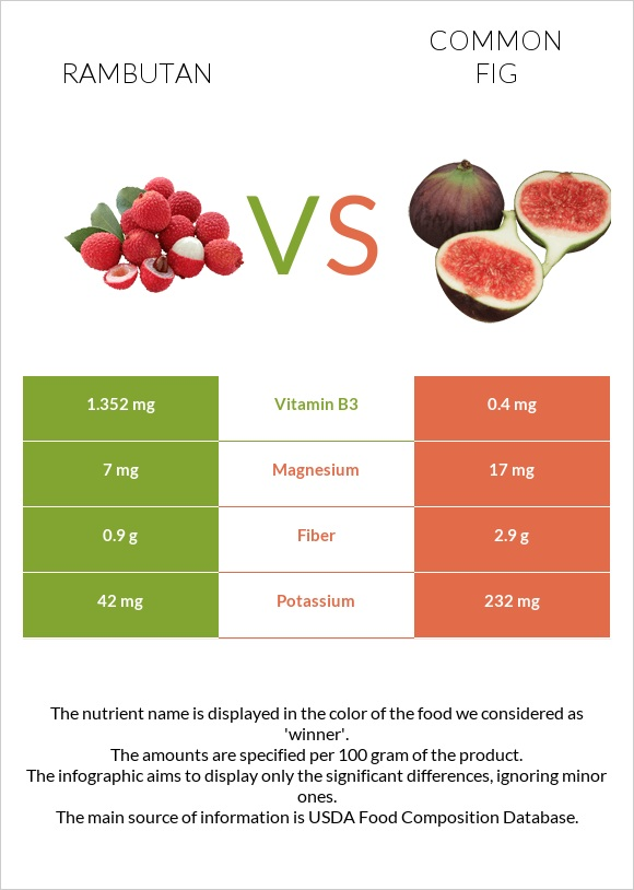 Rambutan vs Common fig infographic