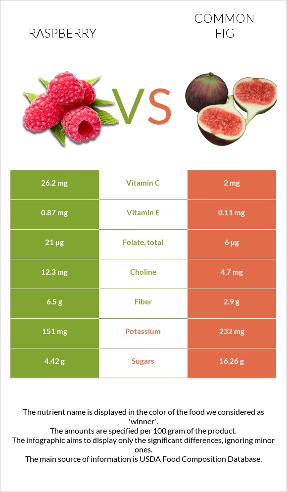 Raspberry vs Common fig infographic