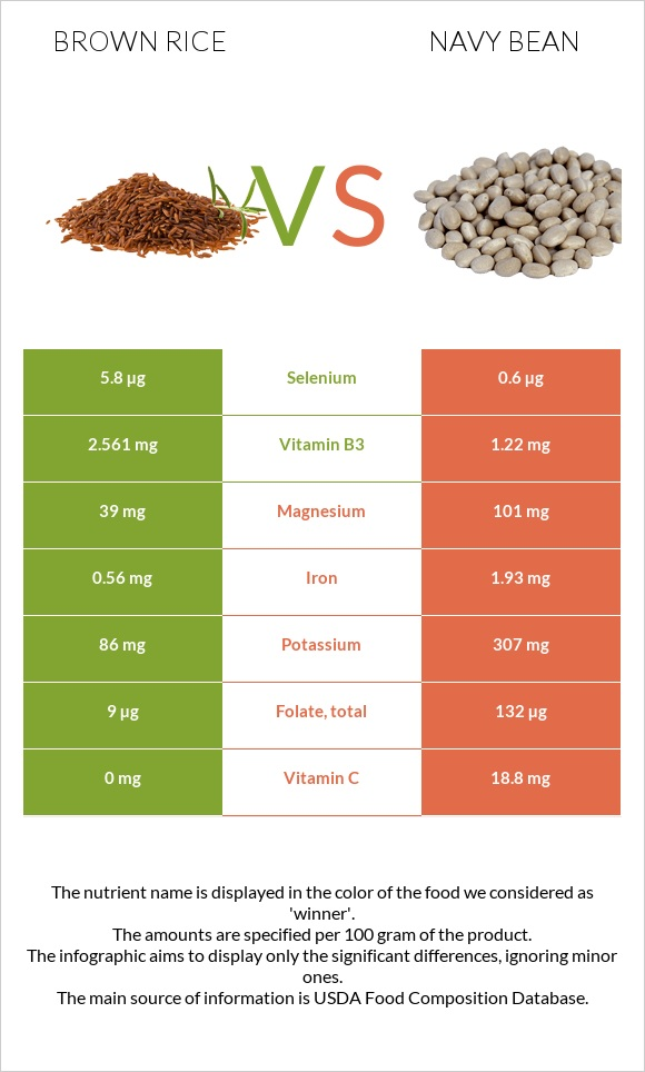 Brown rice vs Navy bean infographic