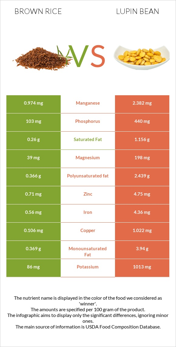Brown rice vs Lupin Bean infographic