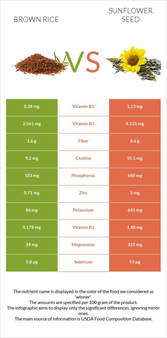 Brown rice vs Sunflower seed infographic