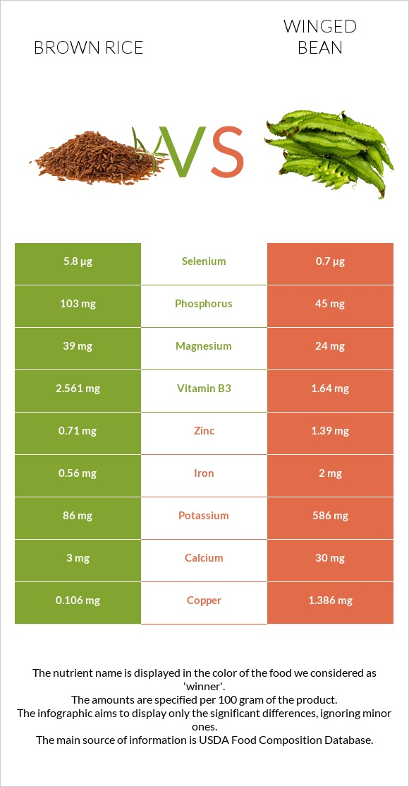 Brown rice vs Winged bean infographic
