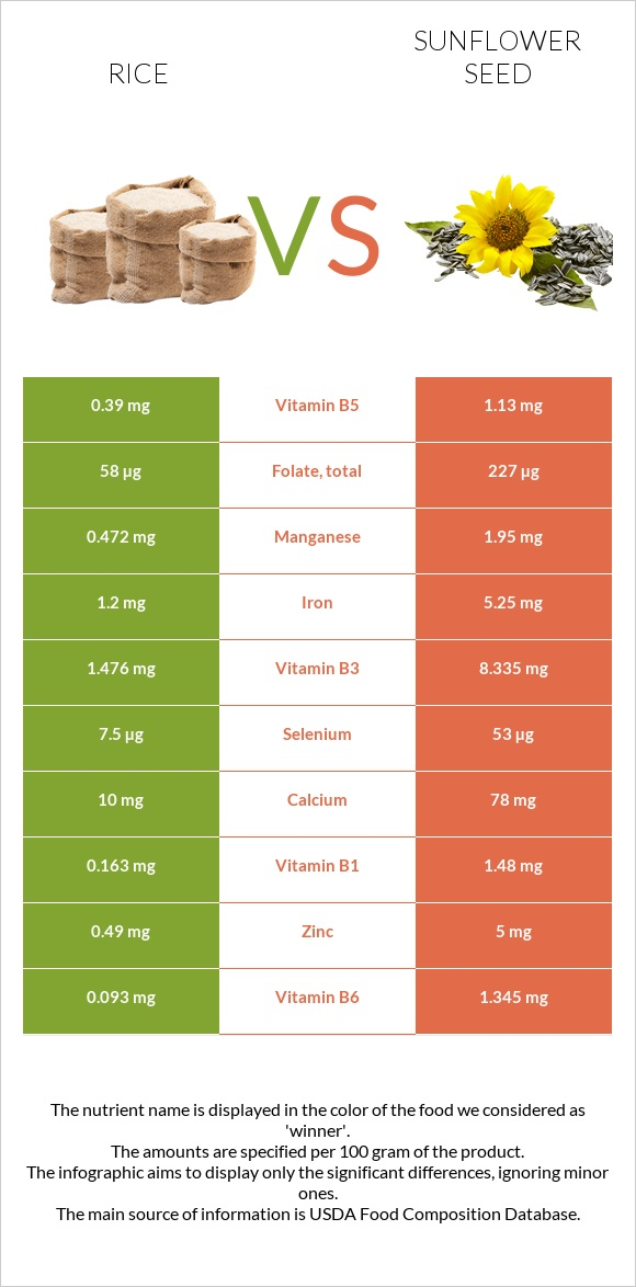 Rice vs Sunflower seed infographic