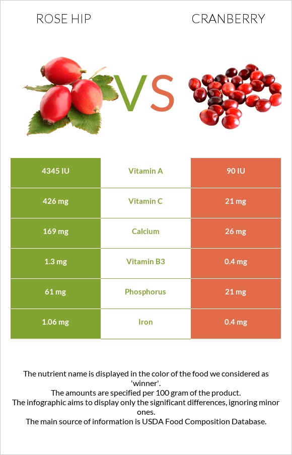 Rose hip vs Cranberry infographic