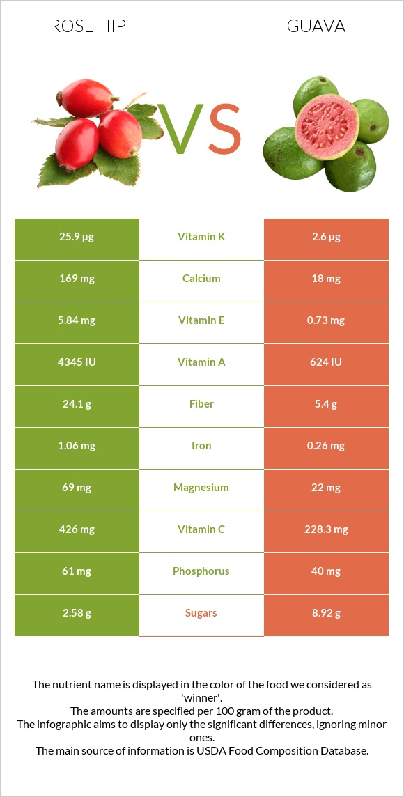 Rose hip vs Guava infographic