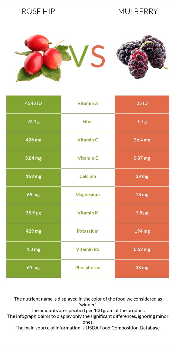 Rose hip vs Mulberry infographic