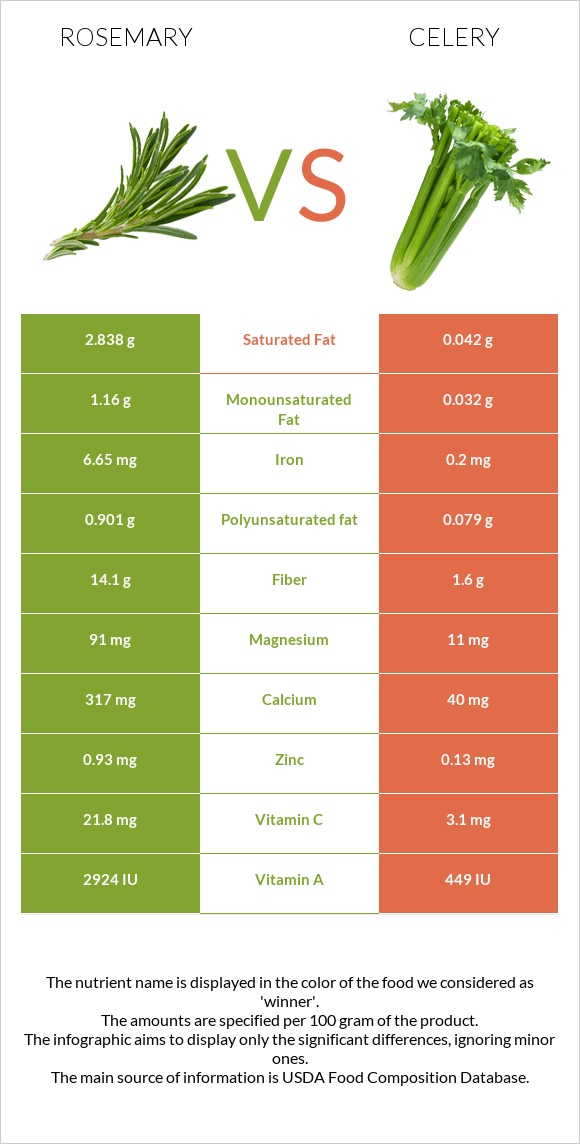 Rosemary vs Celery infographic