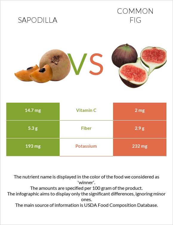 Sapodilla vs Common fig infographic