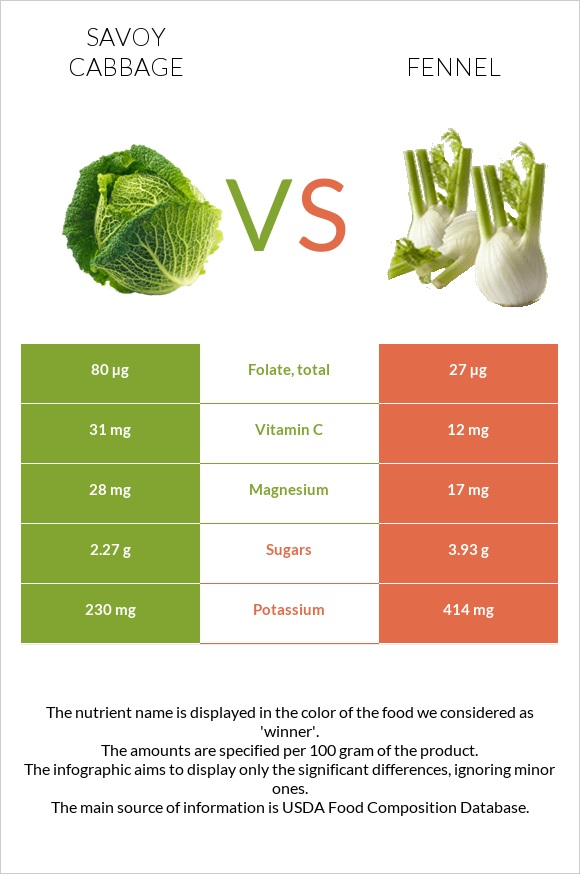 Savoy cabbage vs Fennel infographic