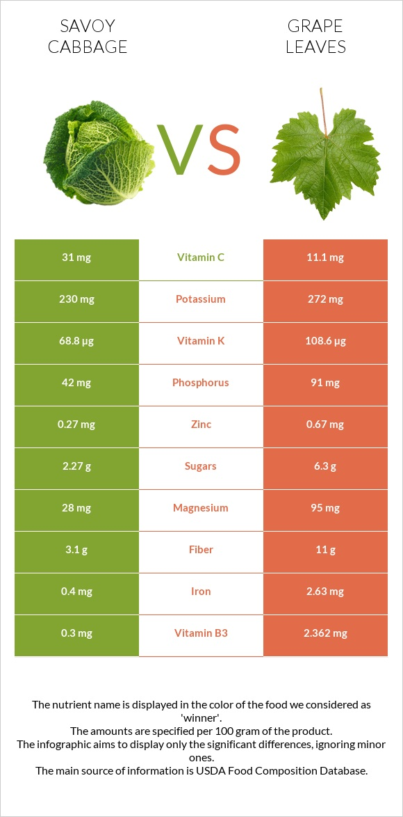 Savoy cabbage vs Grape leaves infographic