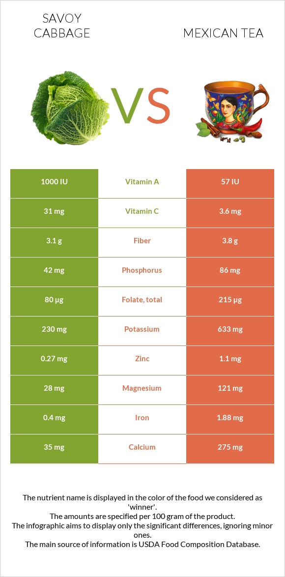 Savoy cabbage vs Mexican tea infographic