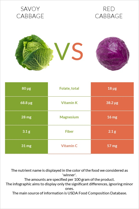 Savoy cabbage vs Red cabbage infographic