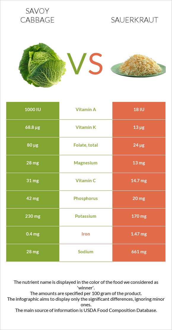 Savoy cabbage vs Sauerkraut infographic