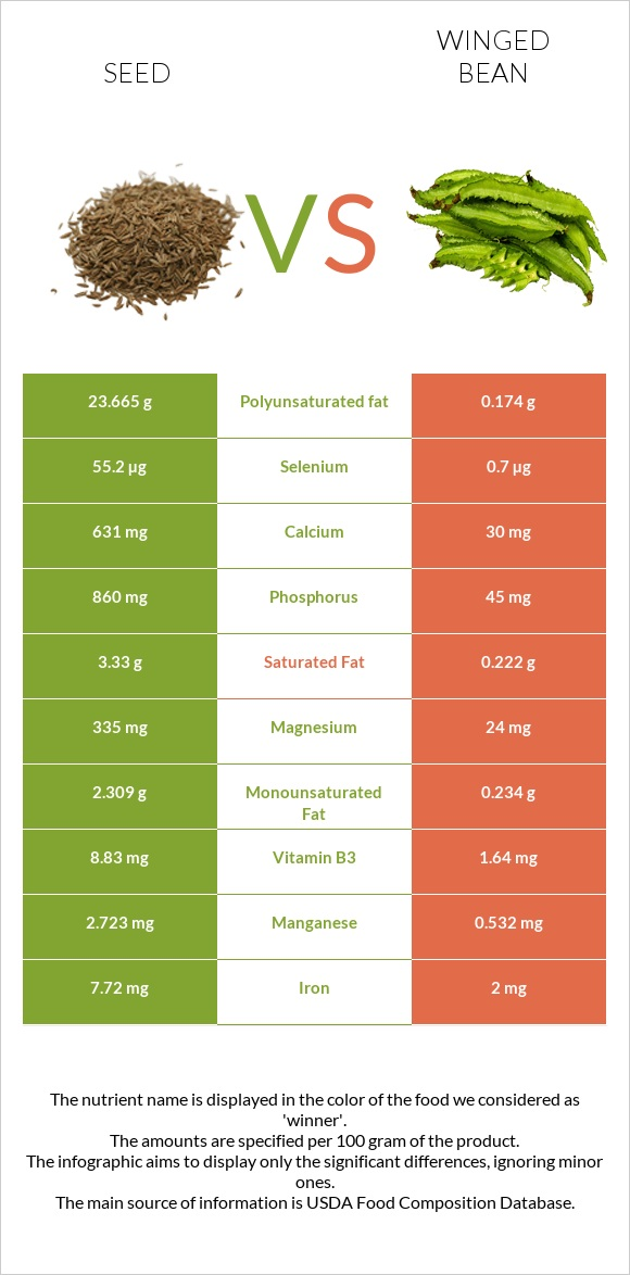 Seed vs Winged bean infographic