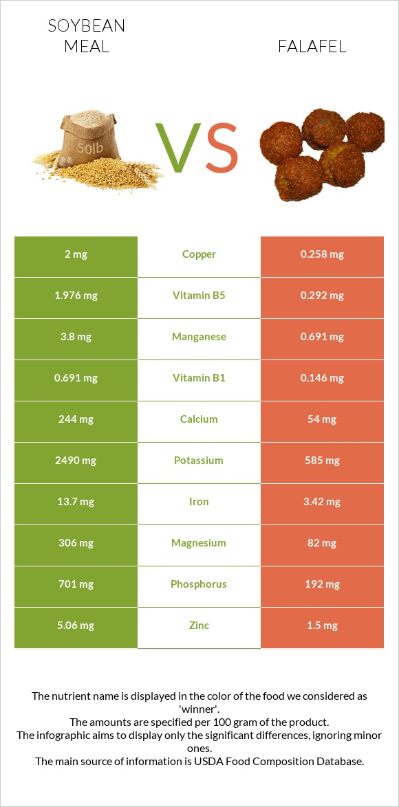 Soybean meal vs Falafel infographic