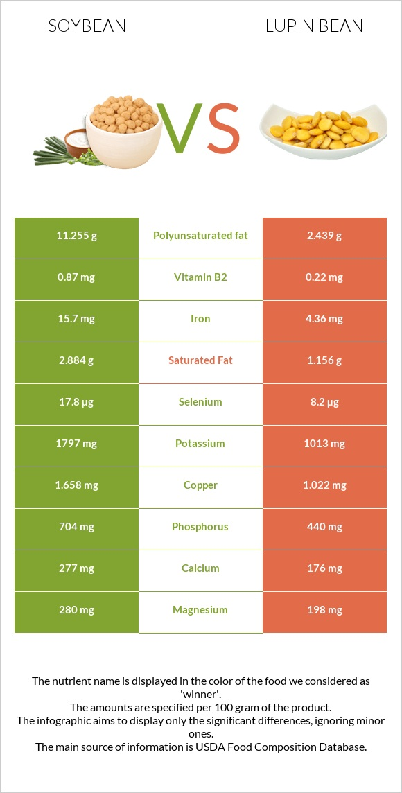 Soybean vs Lupin Bean infographic