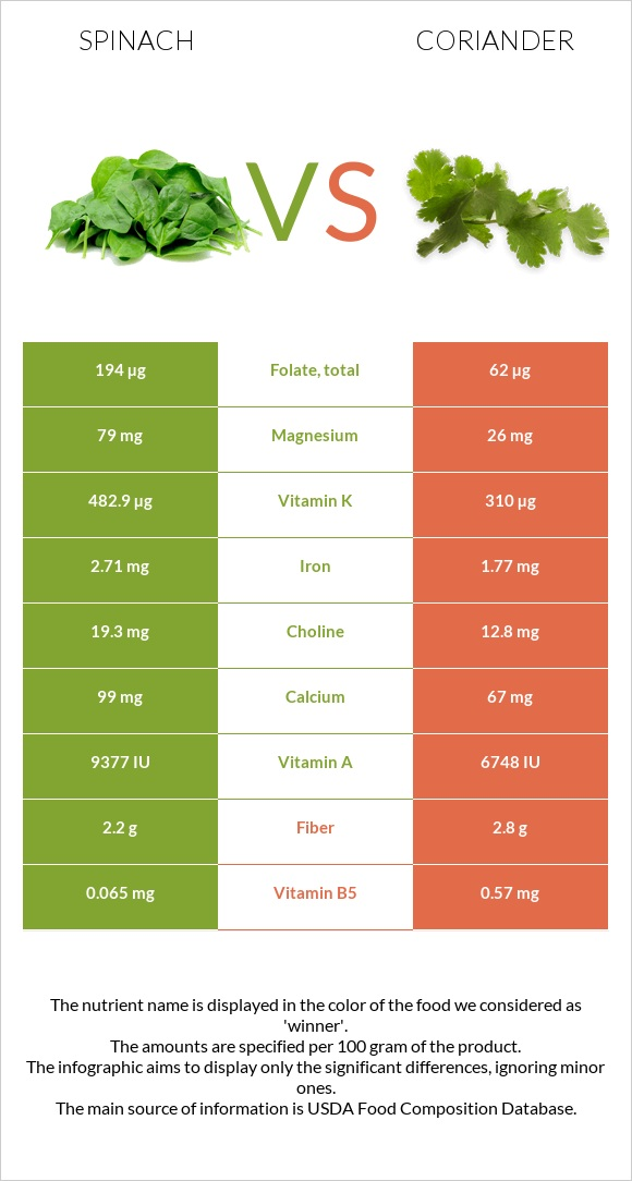 Spinach vs Coriander infographic