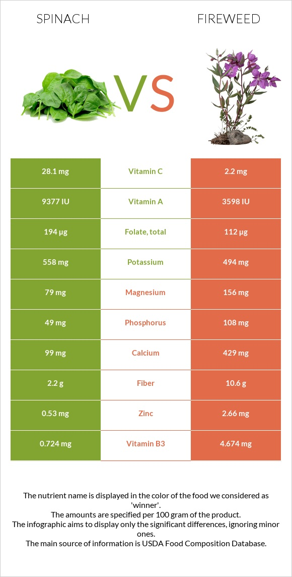 Spinach vs Fireweed infographic