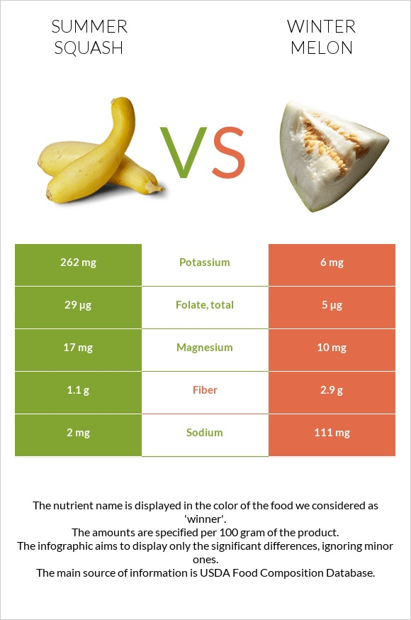 Summer squash vs Winter melon infographic