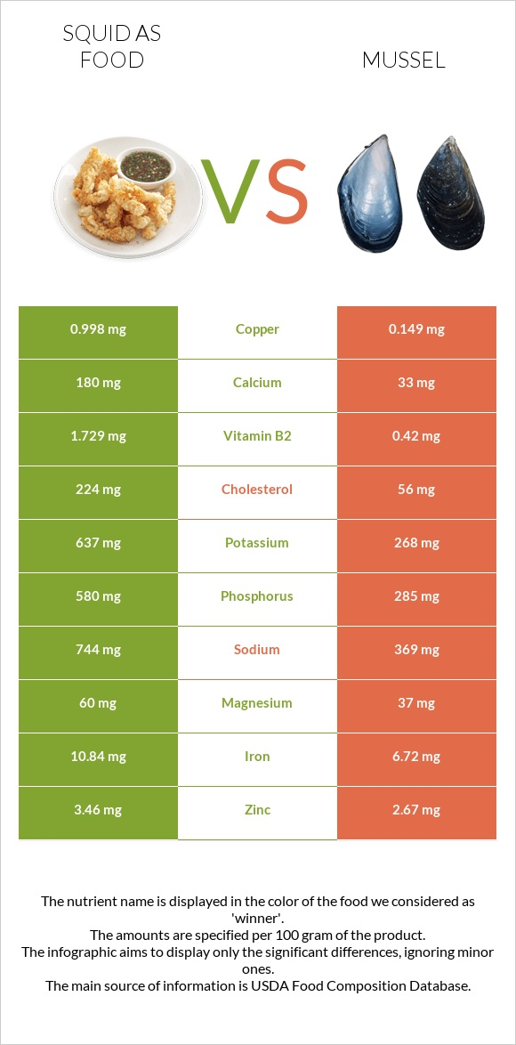 Squid as food vs Mussel infographic
