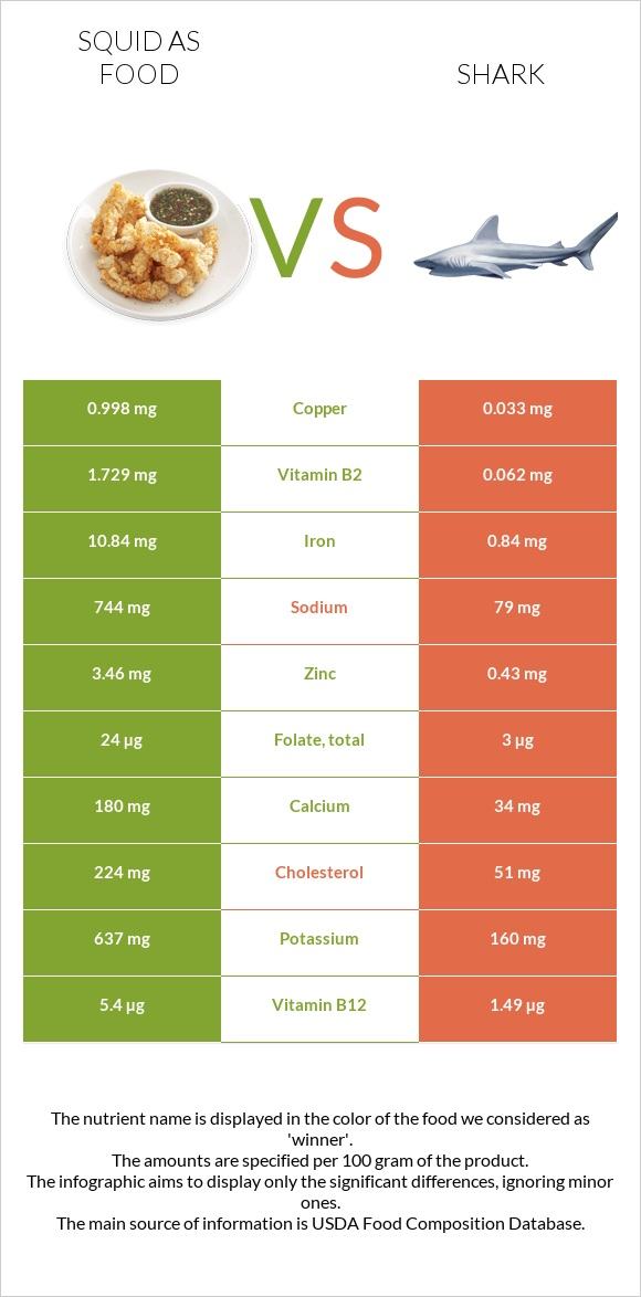 Squid as food vs Shark infographic