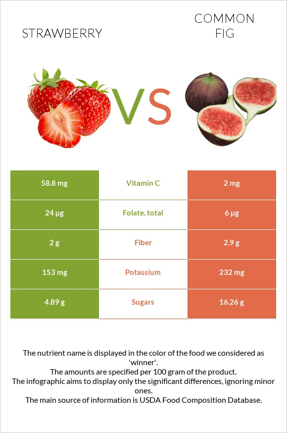 Strawberry vs Common fig infographic