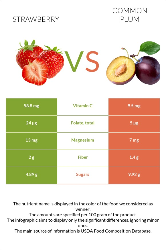 Strawberry vs Common plum infographic
