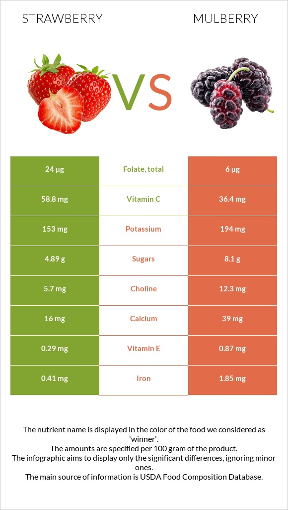 Strawberry vs Mulberry infographic