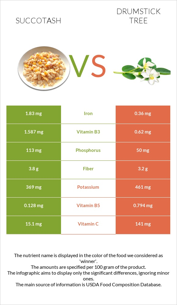 Succotash vs Drumstick tree infographic
