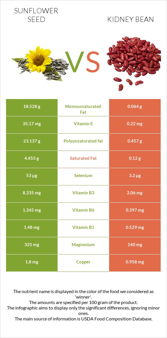 Sunflower seed vs Kidney bean infographic