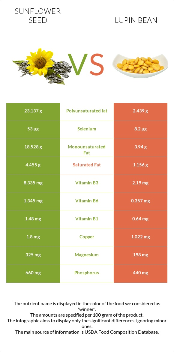 Sunflower seed vs Lupin Bean infographic