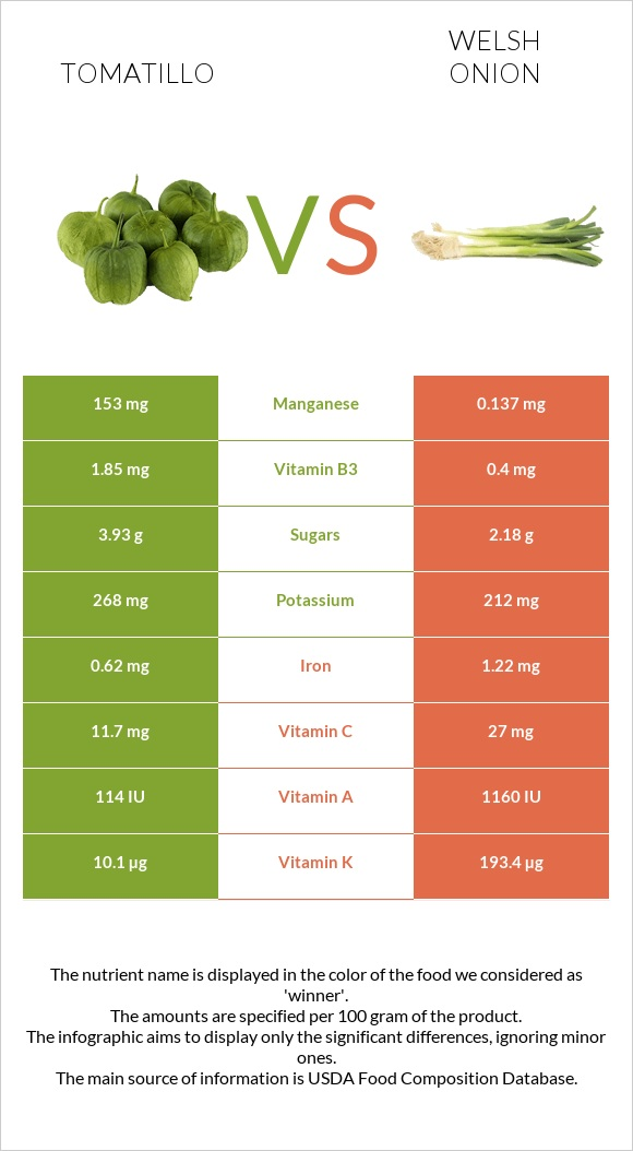 Tomatillo vs Welsh onion infographic