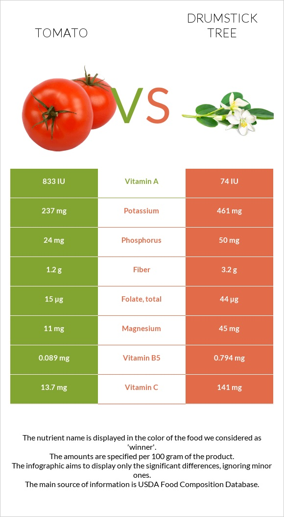 Tomato vs Drumstick tree infographic