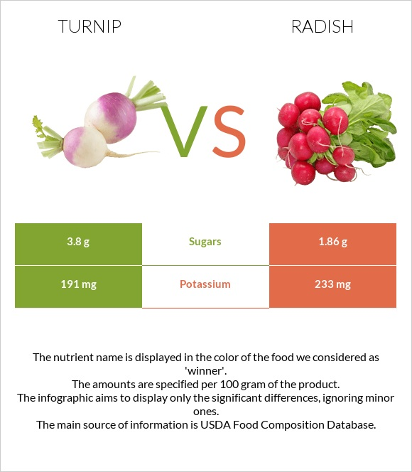 Turnip vs Radish infographic