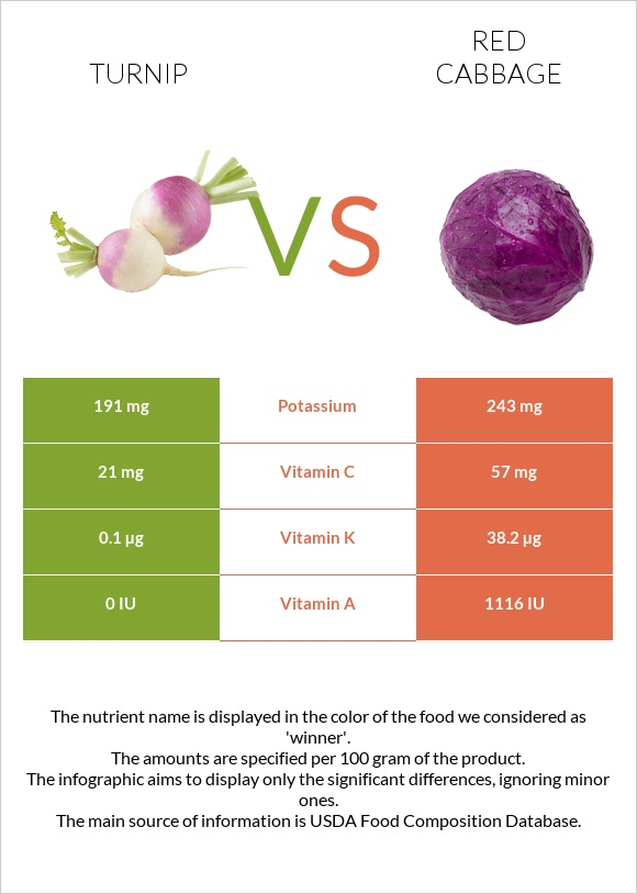 Turnip vs Red cabbage infographic