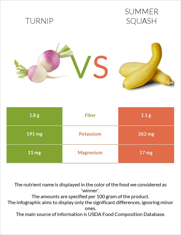 Turnip vs Summer squash infographic