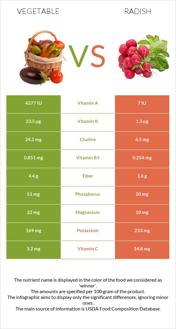 Vegetable vs Radish infographic