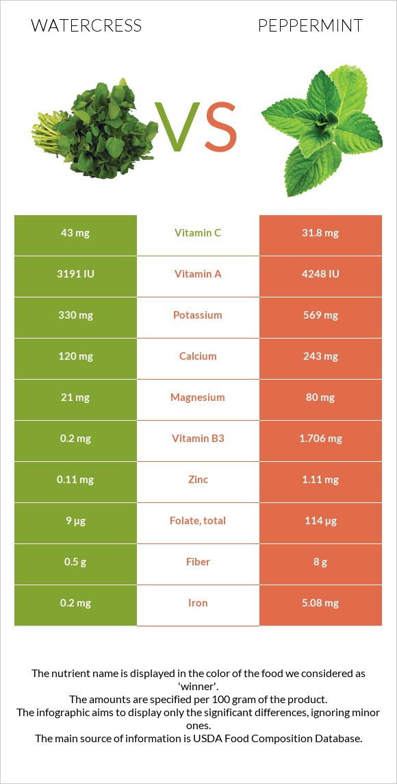 Watercress vs Peppermint infographic