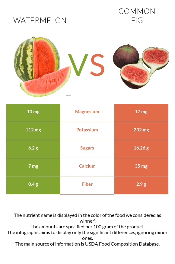 Watermelon vs Common fig infographic