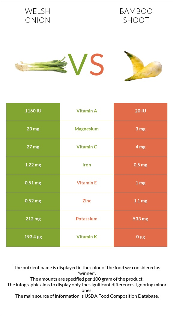 Welsh onion vs Bamboo shoot infographic