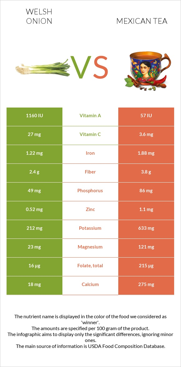 Welsh onion vs Mexican tea infographic