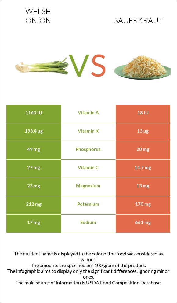 Welsh onion vs Sauerkraut infographic